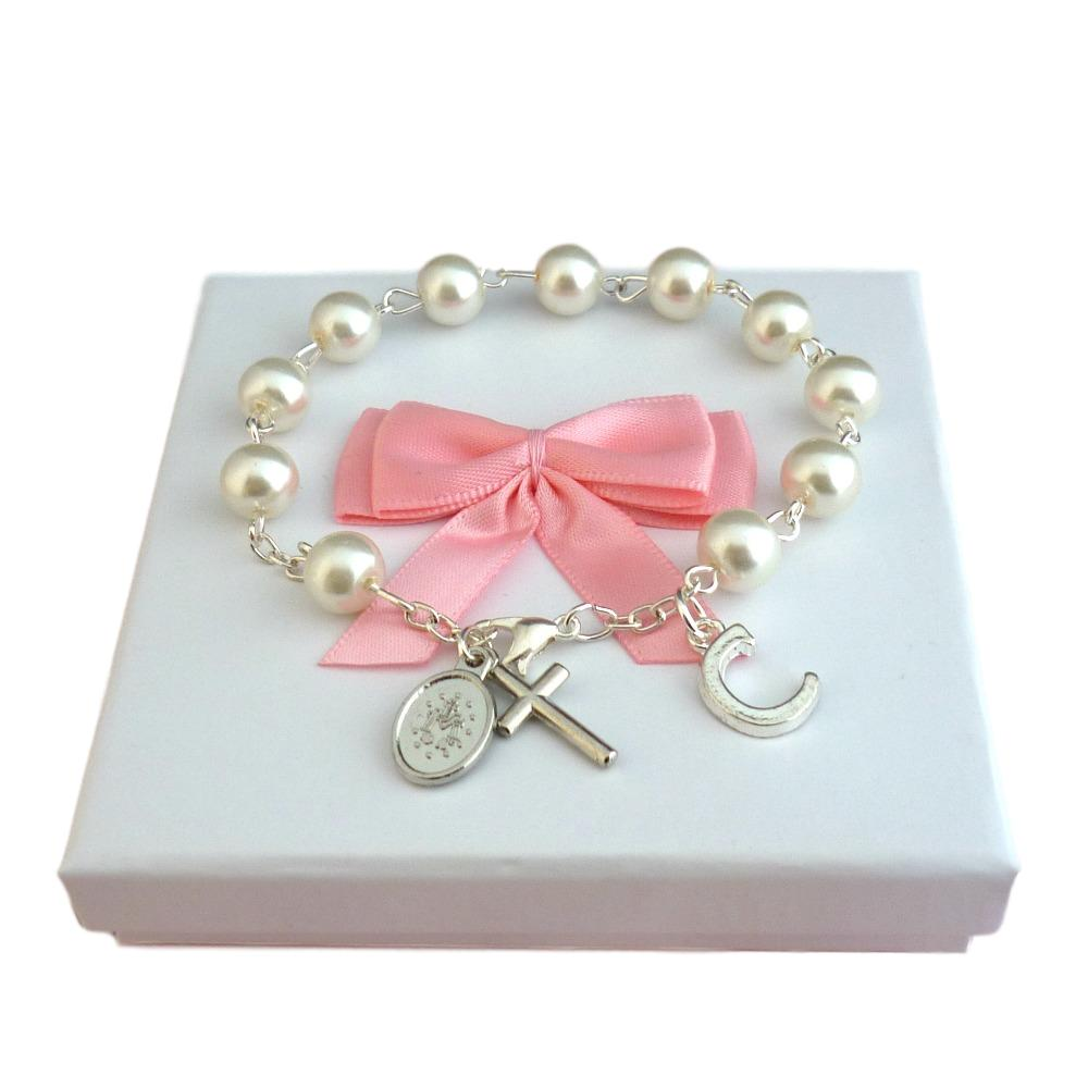 Pearl Rosary Bracelet with Letter Charm | Jewels 4 Girls